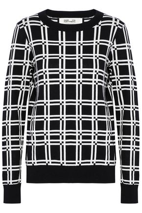 DIANE VON FURSTENBERG Checked cotton and silk-blend top