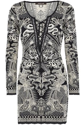 ROBERTO CAVALLI Lace-up metallic jacquard-knit mini dress