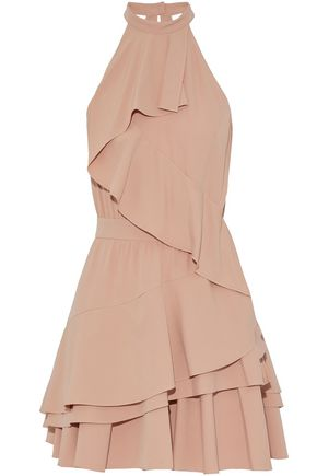MARISSA WEBB Cutout ruffled crepe de chine mini dress