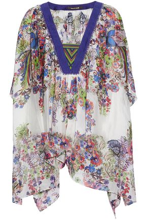 ROBERTO CAVALLI Draped floral-print silk-gauze top