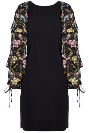 ROBERTO CAVALLI Ruffled floral-print silk-paneled crepe mini dress