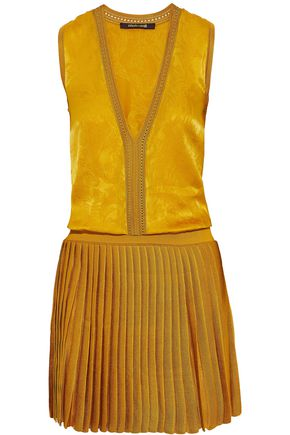 ROBERTO CAVALLI Silk-jacquard and pleated stretch-knit mini dress