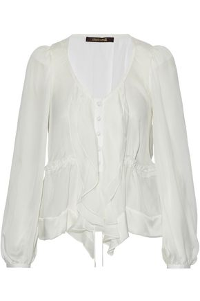 ROBERTO CAVALLI Satin-trimmed ruffled silk-chiffon blouse