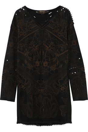 ROBERTO CAVALLI Laser-cut printed suede mini dress