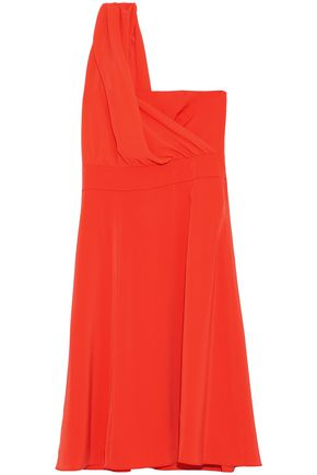 MIKAEL AGHAL One-shoulder draped crepe de chine dress