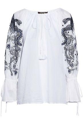 ROBERTO CAVALLI Embellished gathered cotton-gauze top