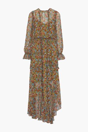 MIKAEL AGHAL Asymmetric ruffled printed chiffon maxi dress