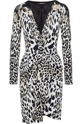 ROBERTO CAVALLI Knotted leopard-print silk and wool-blend mini dress