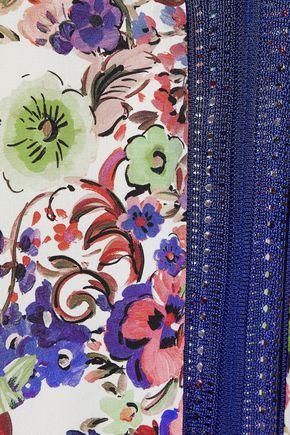 ROBERTO CAVALLI Floral-print silk-paneled pleated stretch-knit mini dress