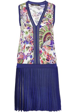 ROBERTO CAVALLI Floral-print silk-paneled pleated stretch-knit mini dress