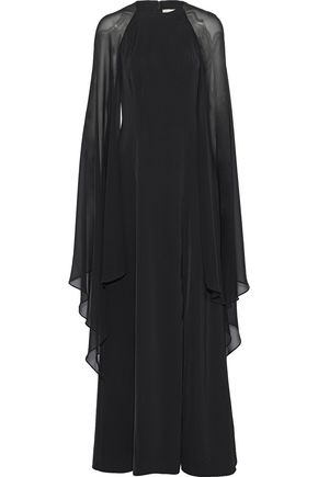 MIKAEL AGHAL Cape-effect chiffon-paneled draped crepe de chine gown