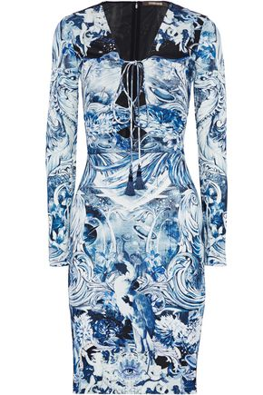 ROBERTO CAVALLI Lace-up printed crepe dress