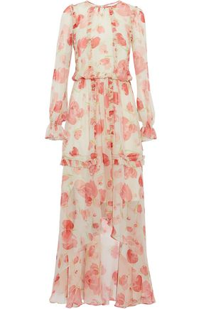 MIKAEL AGHAL Asymmetric ruffled floral-print silk-chiffon maxi dress