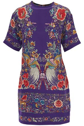ROBERTO CAVALLI Floral-print silk mini dress