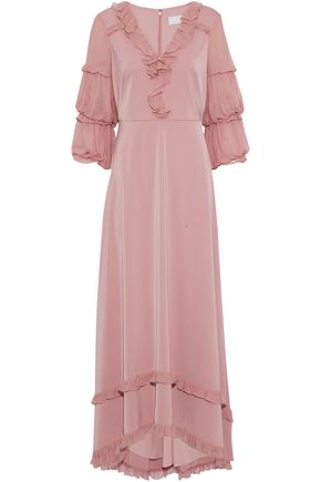 MIKAEL AGHAL Ruffled georgette-trimmed satin gown