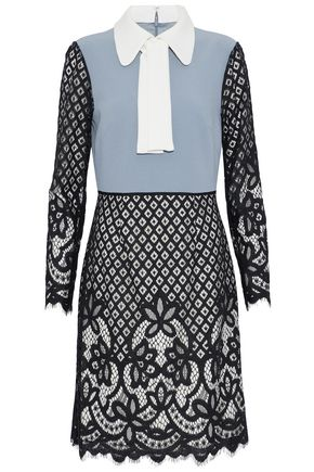 MIKAEL AGHAL Paneled guipure lace and crepe dress