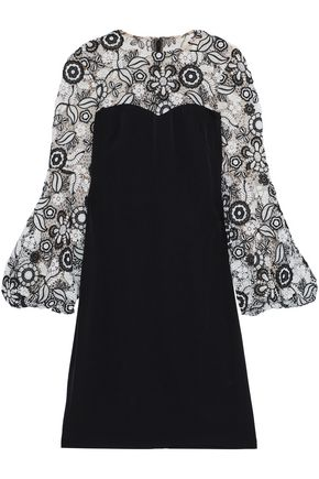 MIKAEL AGHAL Guipure lace-paneled crepe de chine dress