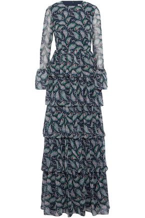MIKAEL AGHAL Tiered ruffled printed chiffon gown