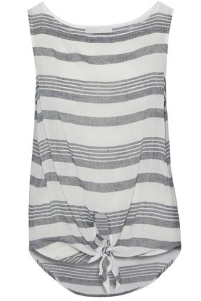 KAIN Knotted striped cotton-gauze top
