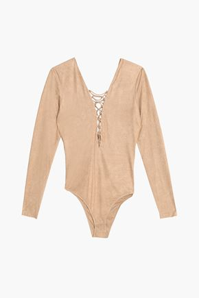 T by ALEXANDER WANG Lace-up stretch-jersey bodysuit