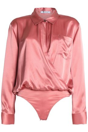 T by ALEXANDER WANG Wrap-effect silk-saitn bodysuit