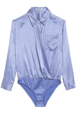 T by ALEXANDER WANG Wrap-effect striped silk-satin bodysuit