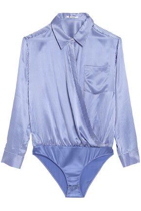 T by ALEXANDER WANG Wrap-effect striped silk-satin bodysuit