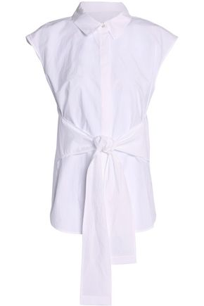 T by ALEXANDER WANG Tie-front cotton-poplin shirt