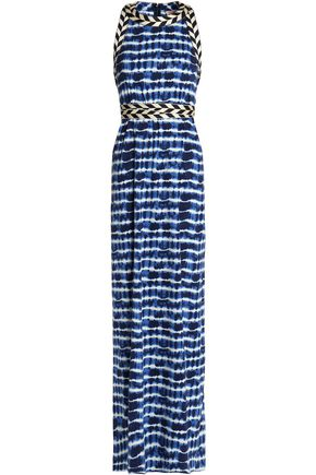 TORY BURCH Woven-trimmed tie-dyed cotton-jersey maxi dress