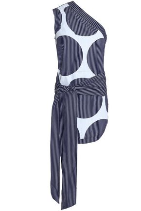 STELLA McCARTNEY One-shoulder tie-front printed cotton-poplin top
