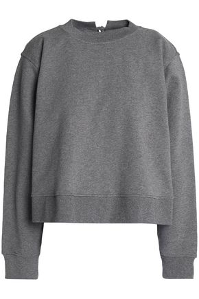T by ALEXANDER WANG Lace-up French cotton-terry sweatshirt
