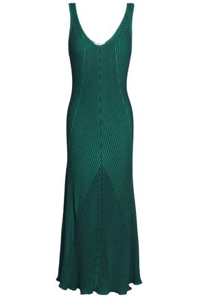 T by ALEXANDER WANG Fluted ribbed-knit midi dress