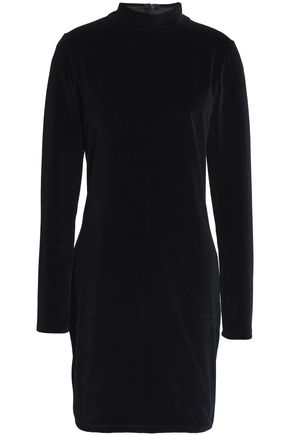 T by ALEXANDER WANG Cutout cotton-blend chenille turtleneck mini dress