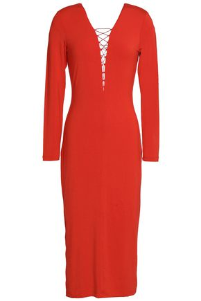 T by ALEXANDER WANG Lace-up stretch-modal jersey midi dress