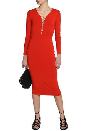 f2973e1a16f ... T by ALEXANDER WANG Lace-up stretch-modal jersey midi dress ...