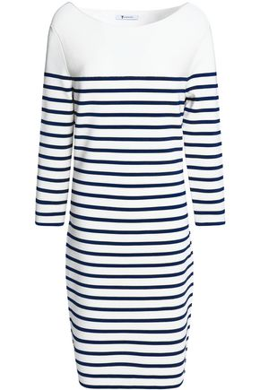 T by ALEXANDER WANG Striped stretch-knit mini dress