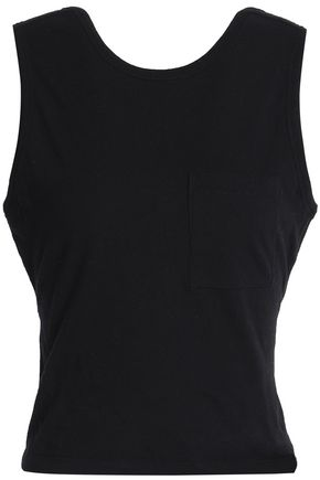 T by ALEXANDER WANG Open-back twisted cotton-jersey tank