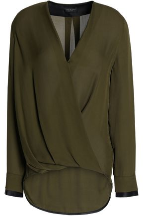 RAG & BONE Draped wrap-effect silk blouse
