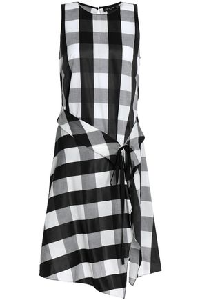 RAG & BONE Tie-front gingham poplin dress