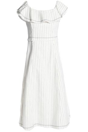 T by ALEXANDER WANG Ruffled striped textured-cotton dress