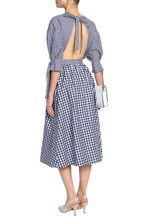 ROSETTA GETTY Open-back gingham cotton midi dress