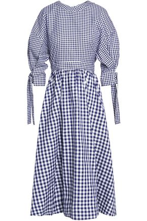 ROSETTA GETTY Open-back gingham cotton midi dress