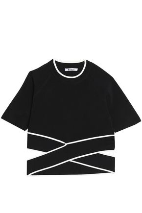T by ALEXANDER WANG Cropped cutout stretch-knit top