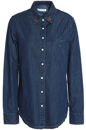 RAG & BONE/JEAN Embroidered cotton and silk-blend chambray shirt