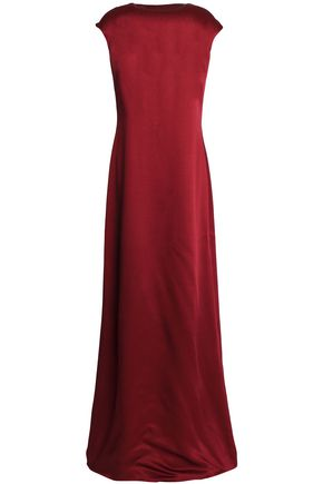 ROSETTA GETTY Draped open-back duchesse-satin maxi dress