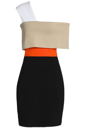 ROSETTA GETTY One-shoukder color-block ponte mini dress