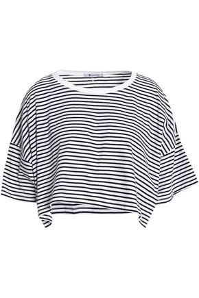 T by ALEXANDER WANG Cropped striped cotton-jersey top