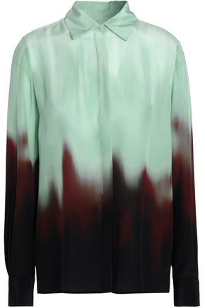 ROSETTA GETTY Dégradé silk crepe de chine shirt