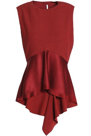 ROSETTA GETTY Satin-paneled crepe peplum top