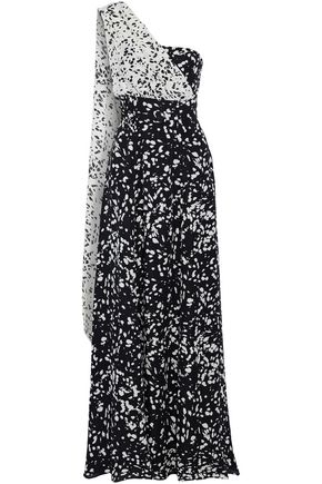 MIKAEL AGHAL One-shoulder printed silk crepe de chine gown